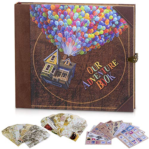 DEBON Our Adventure Book with Balloon House, Hardcover Up Themed Vintage Scrapbook with Lock and Expandable Inner Pocket, Wedding Gustbook, Traveler's Notebook with Retro Craft Cardstock