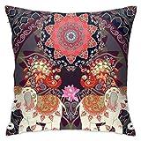 PecoStar - Funda de cojín con diseño Floral de Elefantes pequeños de 45 cm x 45 cm, Duradera, Ideal para Decorar el sofá, el jardín o el hogar