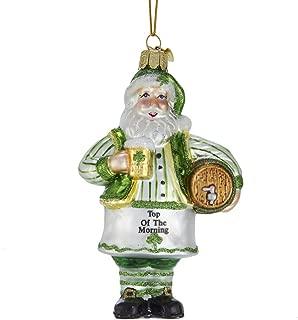 Irish Santa with Beer Shamrock Green 5 inch Glass Christmas Figurine Ornament