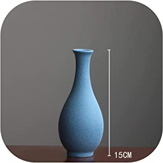 AAAA Vase Decoration Home Modern Grind Ceramic Vases Tabletop Ceramic Vase Home Decoration Accessories,Blue 15Cm