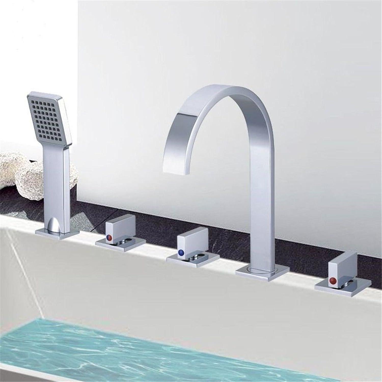 SADASD Contemporary Bathroom Faucet Full Copper Cylinder Edge Shower-Tub 5-Piece Ceramic Valve Single Hole Single Handle Hot Cold Water