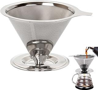 Tianyis Filtre à Café en Acier Inoxydable, Goutteur de Café Cône Réutilisable, Filtre à Café Permanent, Goutteur de Café M...