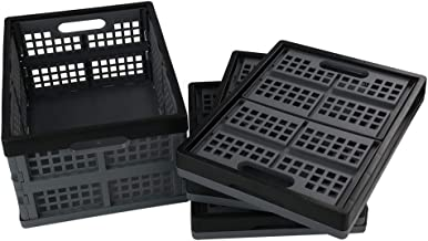 Bringer 15 L Stackable Collapsible Crates, 4 Packs Plastic Folding Storage Baskets