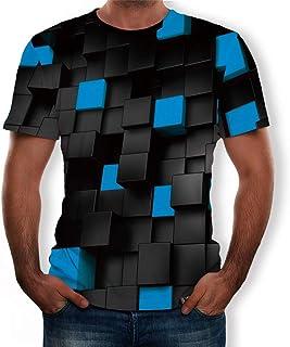 NUSGEAR, Camiseta Hombre Verano Manga Corta 3D Geometría Impresión Moda Originales Camiseta Casual T-Shirt Blusas Camisas Camiseta Cuello Redondo Suave básica Deporte Chándal Hombre Camiseta Tops vpass