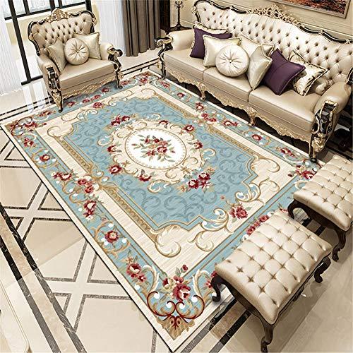RUGMYW A Prova di Polvere tappeti Neonati Gattonamento Stampa Vintage Classica Blu Beige Rosso Tappeto Sala 80X120cm