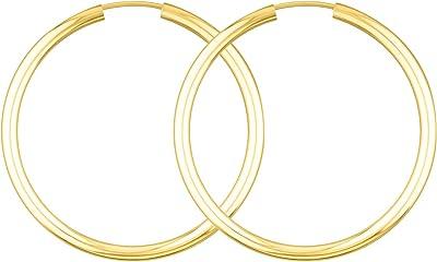 Orecchini Donna oro giallo 333/585/750 Cerchi Grandi 40 mm, largh. 2,5 mm, marchio di garanzia made in Germany
