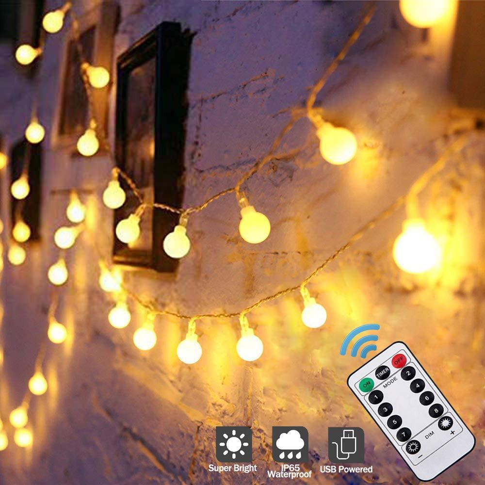 Guirnalda Luces Exterior, Blanco Cálido Guirnalda de Luces Led Impermeable IP65, 8 Modos con USB, Control Remoto Led Cadena de Luces, para Exterior y Interior, Jardines, Casas, Boda, Arbol de Navidad: Amazon.es:
