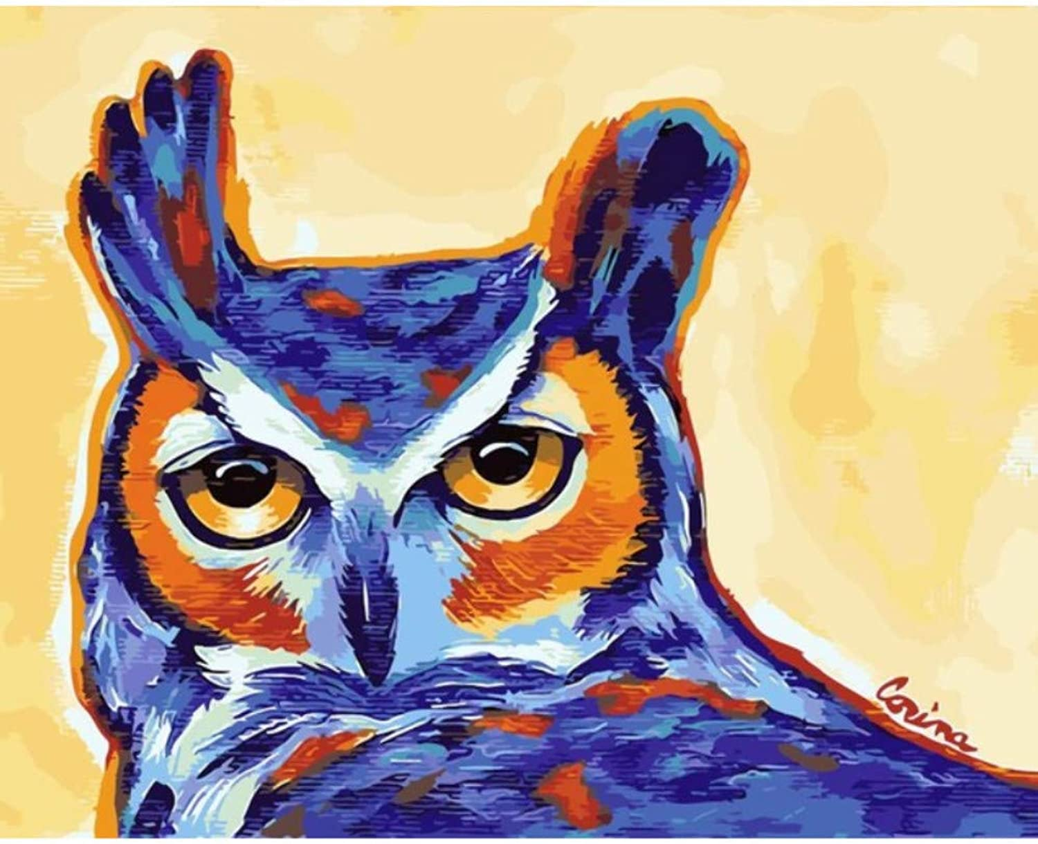 Owl Animal Painting by Number Good Gift for Family Digital Oil Painting Home Decor Wall Art for Living Room Drawing by Numbers 50x60CM