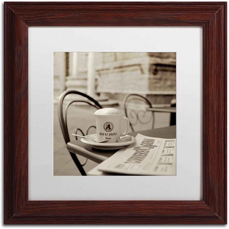 Trademark Fine Art ALI5171-W1111MF Tuscany Caffe VI by Alan bluestein, White Matte, Wood Frame, 11  X 11