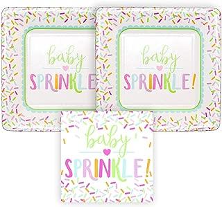 Baby Sprinkle Paper Dessert Plates and Paper Beverage Napkins, Bundle- 3 Items