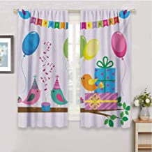 Kids Birthdayroom Darkening Curtains for bedroomSinging Birds Happy Birthday Song Flags Cone Hats Party Cake Celebrationwall curtainMulticolor108 x 72 inch
