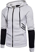 TOPUNDER Men Letter Print Casual Sports Hooded Cardigan Long Sleeve Sweatshirt