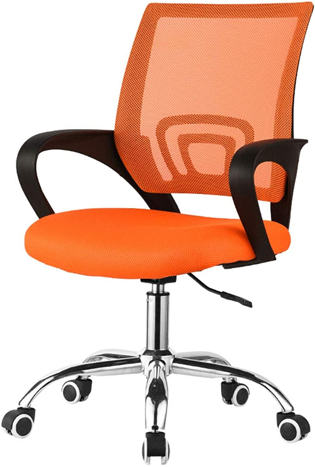 PeaceipUS Office Swivel Chair - Black - Soft and Comfortable - Wheeled Metal Tripod - Gaming-Black orange Green Optional (color   orange)