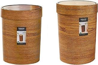 C-J-Xin Shake Cover Trash Can, Debris Bucket Wood Grain Circular Trash Can Wood Color Storage Tube Household Bedroom Livin...