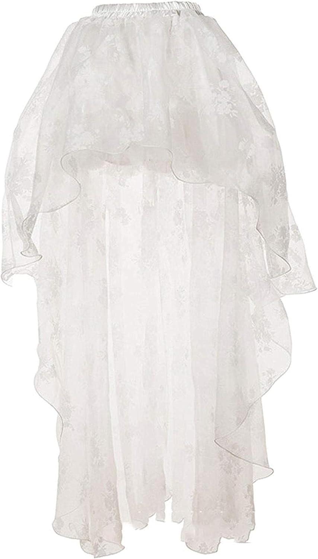 SHOWGG Women's Elegant Sheer Mesh Floral Lace Hi-Low Wedding Tulle Tutu Skirt