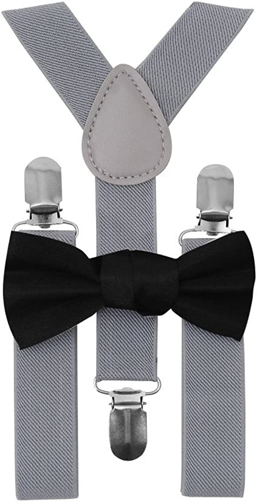 MBOX Kids Boys Girls Toddler Child Tuxedo Bow Tie And Suspenders Set-With Elastic Adjustable Multi Color Clip-on Suspender (Light Grey)