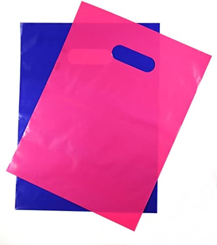 "200 Pink and Purple 1.5Mil, 9"" x 12"" Extra Thick Glossy Plastic Retail Merchandise Bags with Die Cut Handles,No Gusse..."