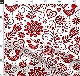 Skandinavisch, Vögel, Weiß Und Rot, Blumen, Niedlich