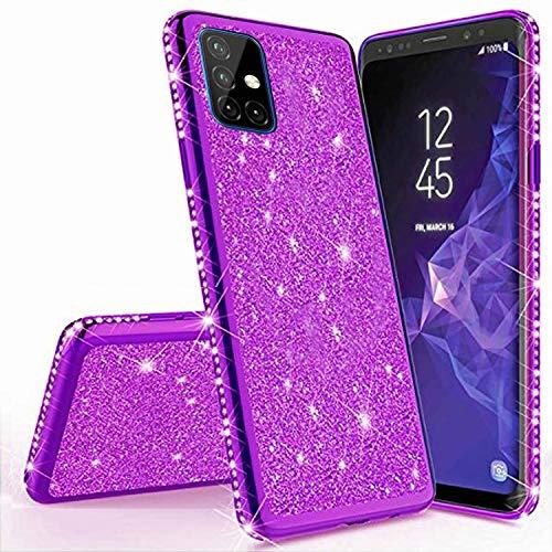 Miagon für Samsung Galaxy M31S Glitzer Hülle,Bling Überzug Glänzend Strass Diamant Weich TPU Silikon Handy Hülle Etui Tasche Schutzhülle Case Cover