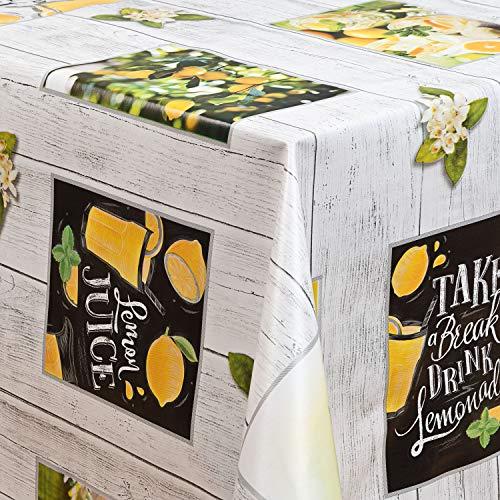 laro Wachstuch-Tischdecke Abwaschbar Garten-Tischdecke Wachstischdecke PVC Plastik-Tischdecken Eckig Meterware Wasserabweisend Abwischbar GAI, Größe:100x160 cm, Muster:Zitrone Zitronenbaum gelb