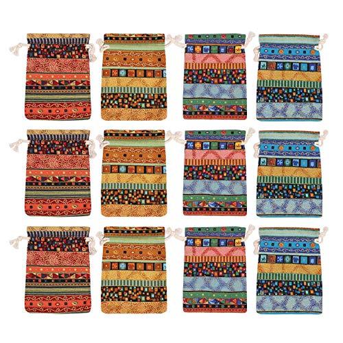 Senmubery 12 Stück gyptischen Stil Schmuck Münze Beutel Drucken Kordelzug Geschenktüte Baumwolle Beutel Süüigkeiten Reise Geldbbrse Ethnisc