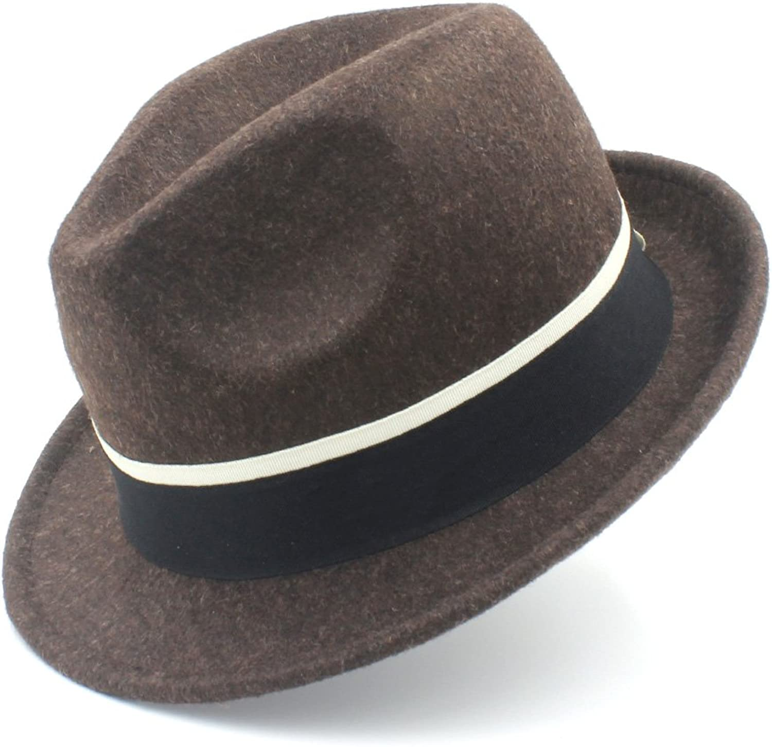 Fedora Hats for Men Wool Gangster Trilby Fedora Hat with Black and White Stripe (color   Coffee, Size   57-58CM)