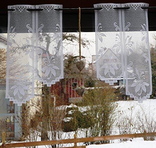 fashion and joy Meterware Scheibengardine nach Maß Höhe 78cm Treppenform Breite in 28cm-Schritten wählbar Ornament Blumen in weiß Ökotex Typ400