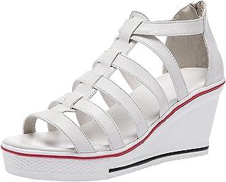 cde299e8f74704 Qimaoo Chaussures Compensées en Toile pour Femme,Chaussures Montantes  Basket de Loisir à Talon