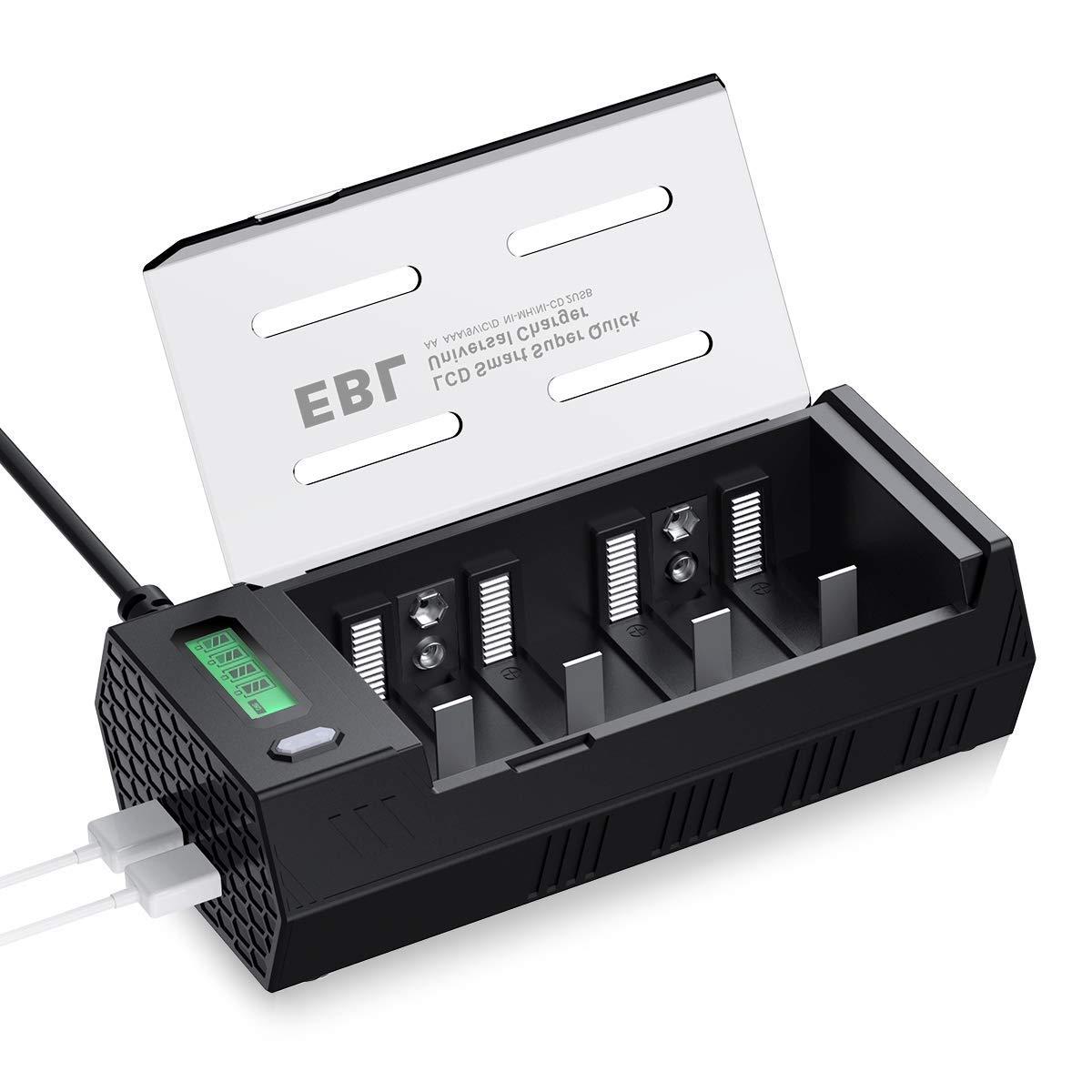 EBL 908 Cargador de Pilas para AA AAA C D 9V Ni-MH Ni-CD Pilas Recargables con 2 Puertos de USB, Pantalla LCD Inteligente y Función de Descarga: Amazon.es: Electrónica
