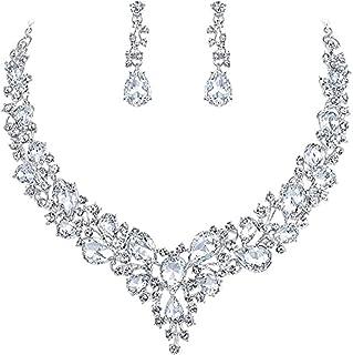 Women's Rhinestone Crystal Elegant Bridal Floral Teardrop Necklace Earrings Set fit with Wedding Dress