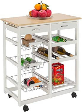 NAJER Kitchen Trolley Cart Rolling Island Cart Large Storage with Countertop, Lockable Wheels, 2 Drawers and Wine Shelf Servi