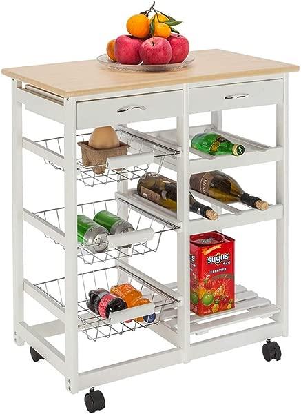 HOBBYN 厨房手推车滚动收纳柜木桌多功能岛车厨房货车