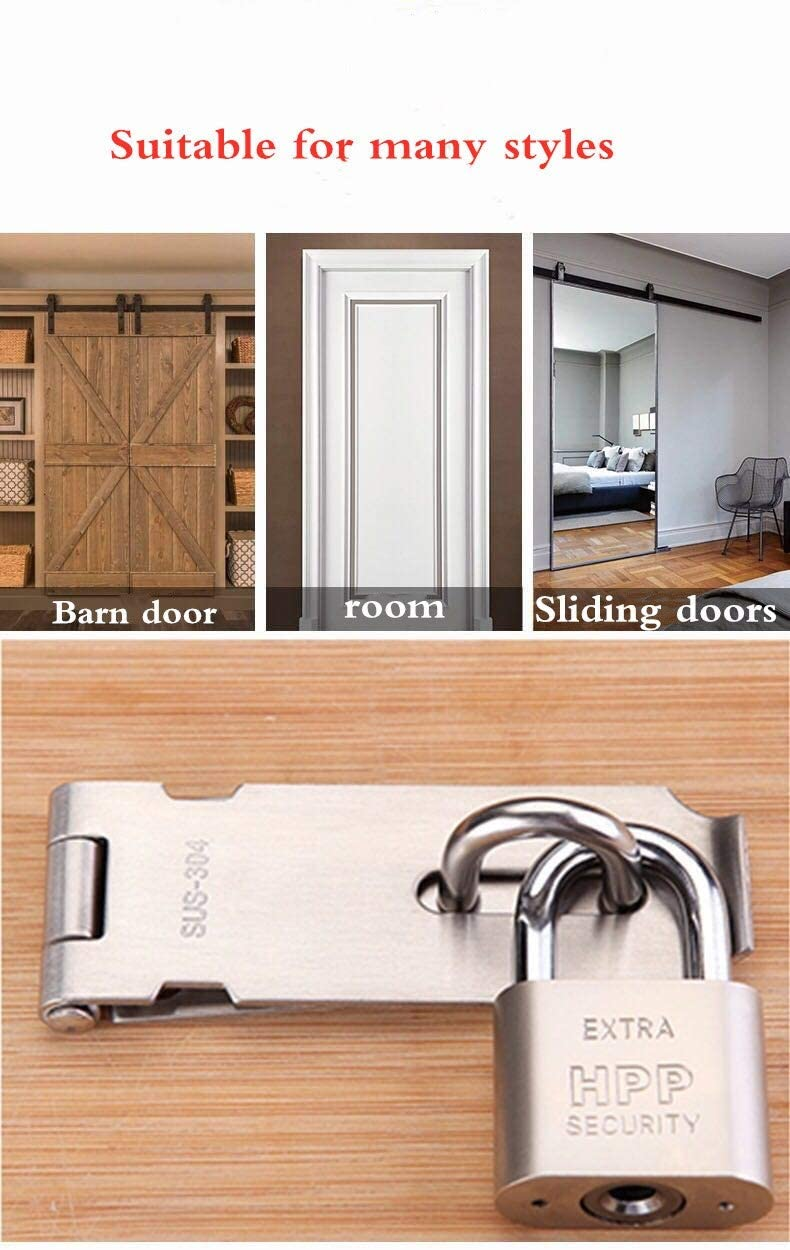 THJJSS Lock Hasp Latch Keyed Hasp Lock Pool Gate Locks for Wooden Fence Garage Shed Barn Door Locks and Latches Thicken SUS 304 Stainless Steel Brushed Nickel Padlock Hasp Door Latch 4 Inch