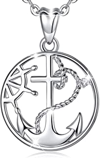 Large Anchor Necklace Silver Men/'s Necklace Silver Anchor Necklace Sterling Silver Solid Anchor Medal Large Cross Necklace Nautical