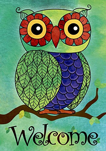 JoyPlus Welcome Owl Spring Garden Flag - Vertical Double Sided Spring Summer Decorative Rustic/Farm House Small Decor Yard Flags Set for Indoor & Outdoor Decoration, 12 X 18 Inch by