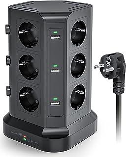KOOSLA 12 Fach Steckdosenleiste 4000W/16A, 6 USB Mehrfachsteckdose mit Überspannungsschutz, einzeln schaltbarer Steckdosenturm,2M Kabel, Schwarz