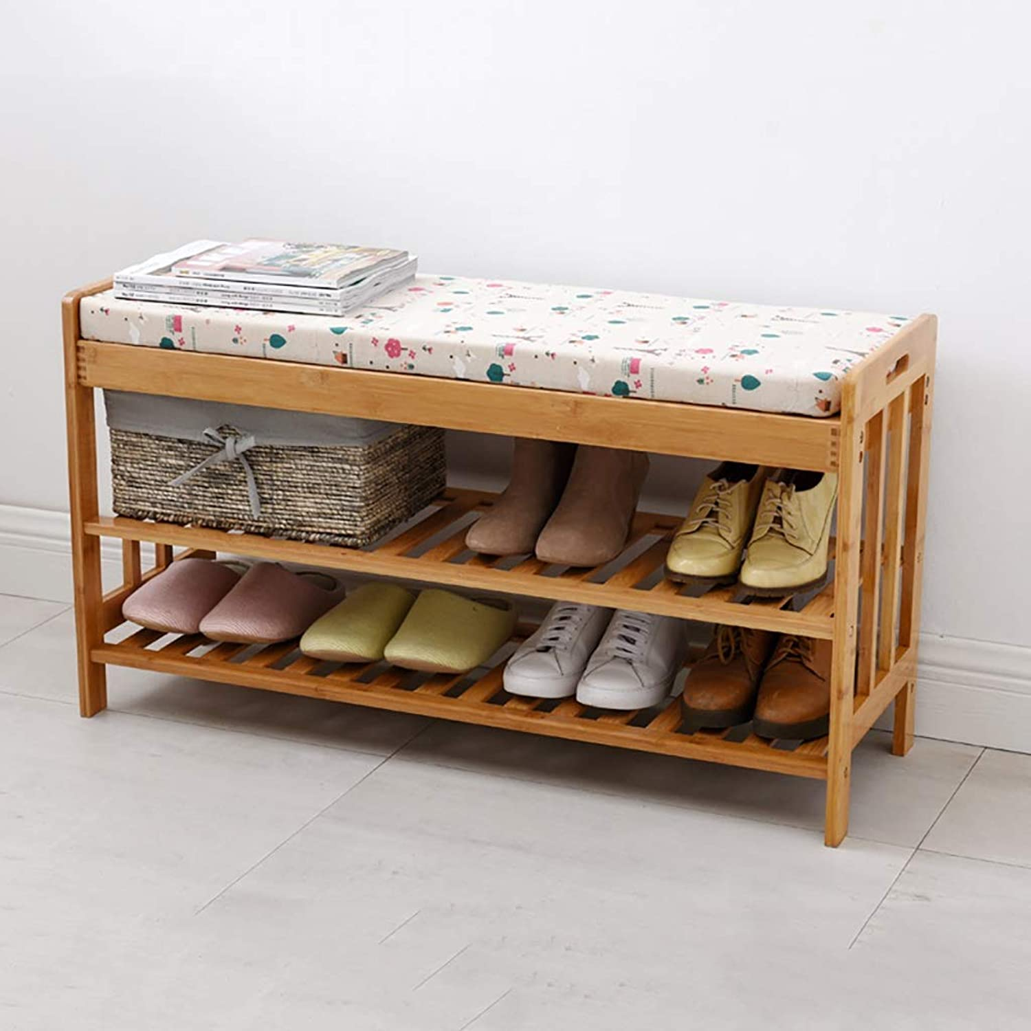 Entrance Door Change shoes Bench Double Layer shoes Rack shoes Stool Storage Stool Frame Sofa Stool shoes Cabinet Wearing a shoes Bench Bamboo (color   B, Size   72  30  50cm)