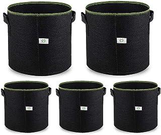 AOLVO 5 Pack 5 Gallon Fabric Pots with Handles, Plant Smart Grow Bags Portable Garden Planter Heavy Duty Aeration Nonwoven...