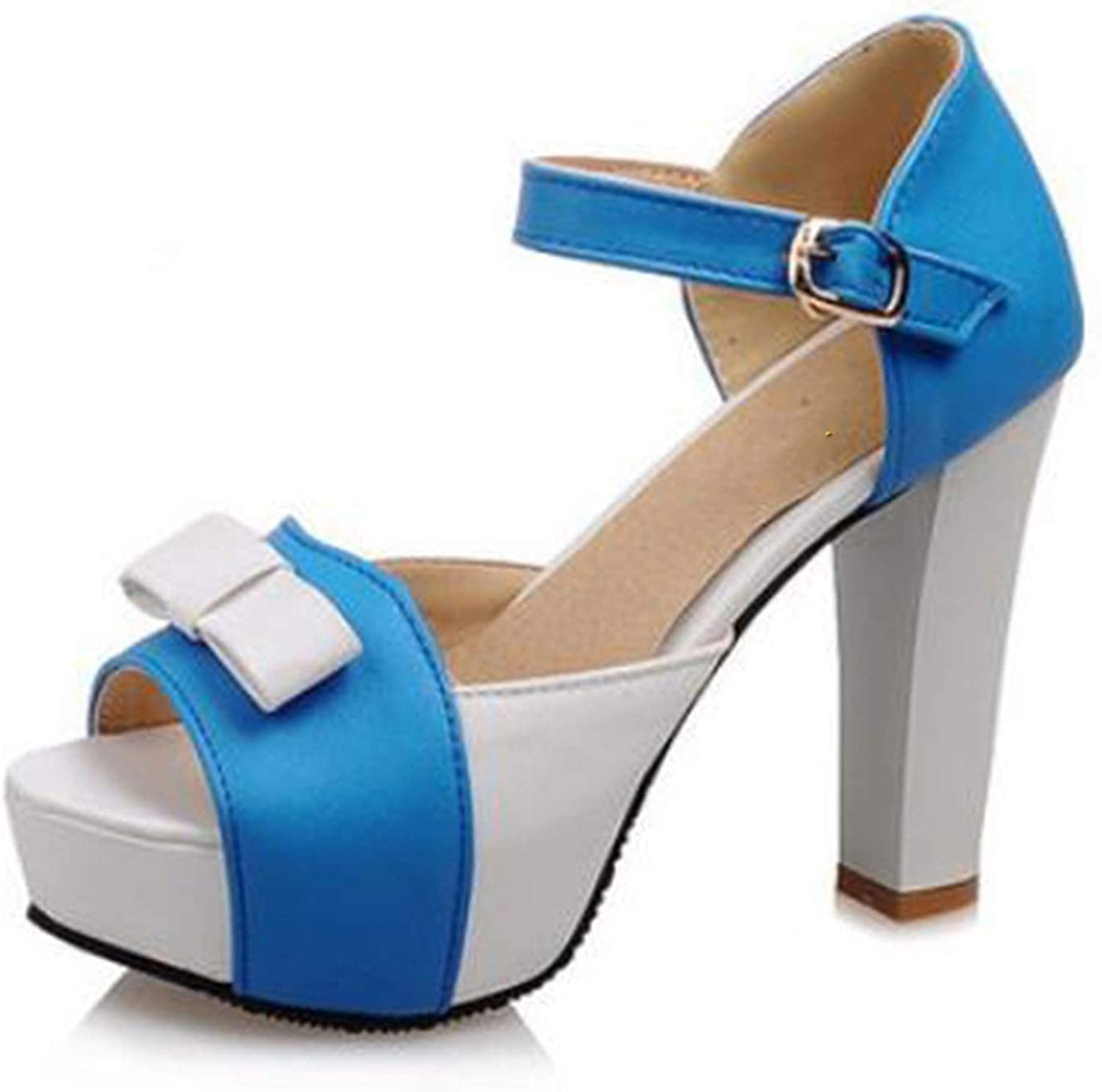 Fairly High Heel Fashion Bowtie Open Toe Platform shoes Thick Heels Ladies shoes,bluee,5