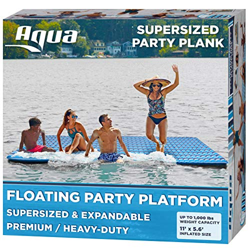 AQUA X-Large Floating Mat Raft Island with Expandable Zippers, 1000 Lbs. Capacity, For Lake-Ocean-Pool Floating, Heavy Duty, Navy/White Stripe