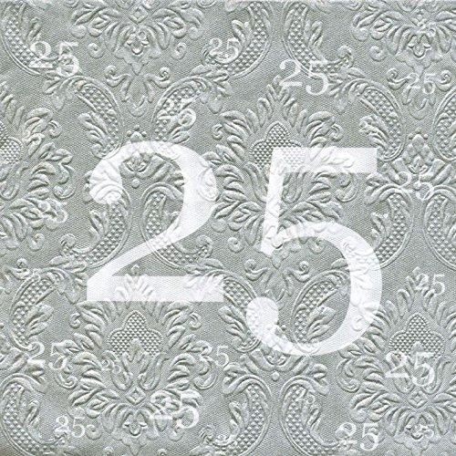 AvanCarte Servietten 25 Silberhochzeit mit Prägung 20 Stück, 2-lagig 33x33cm