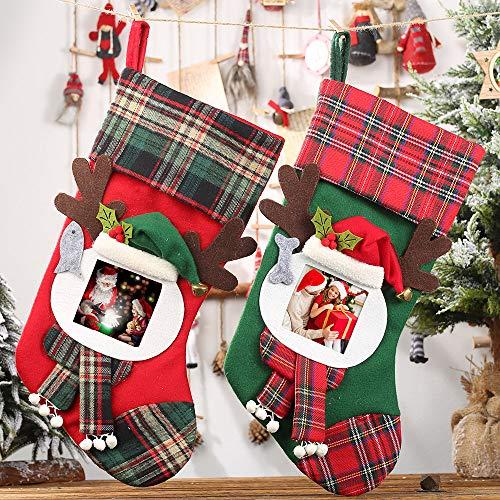 Yonala Christmas Stockings,Transparent Photo Frame Plaid Hanging Christmas Stocks for Kids Candy Gift Bag Christmas Tree Fireplace Decoration and Praty Accessory