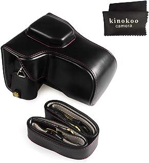 kinokoo FUJIFILM 富士X-T20 X-T30 X-T10専用カメラケース カメラバッグ 16-50/18-55 mm レンズ 対応 バッテリーの交換でき 三脚ネジ穴付き PUレザー 全面保護型 ショルダーストラップ付き 標識クロス付き(ブラックA)