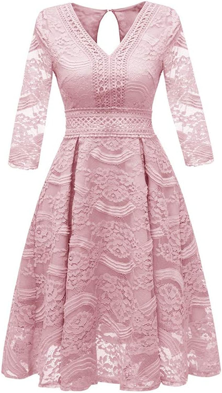 Aignse Dress High Waist k Floral Lace Dress V Neck Hollow Waist 3 4 Sleeve Women Luxury Dress Elegant Autumn Dresses