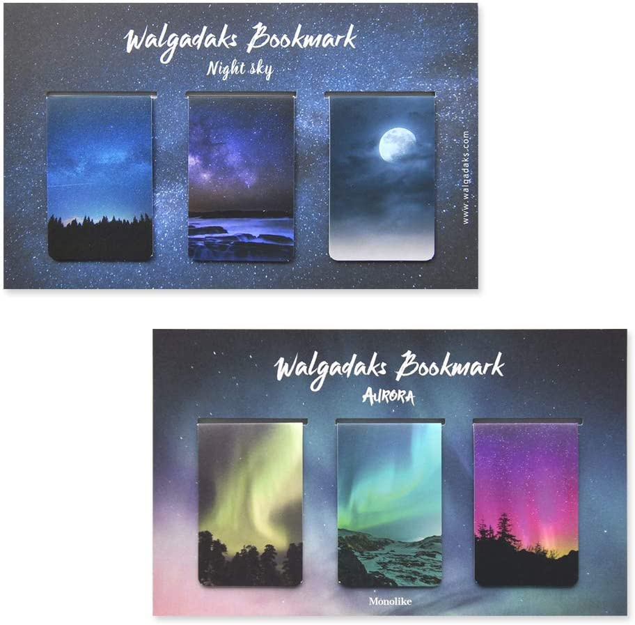 Monolike Max 81% OFF Magnetic Bookmarks Night Sky 6 Aurora Attention brand Pieces +