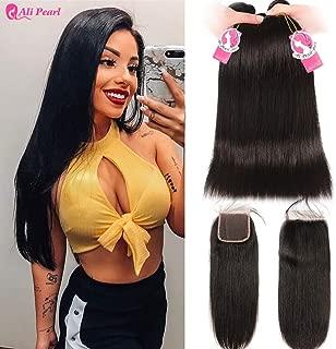 Ali Pearl 8A Brazilian Human Hair 3 Bundles Straight Hair with 4x4 Lace Closure Free Part Human Hair Extension (14 16 18 & 12closure)
