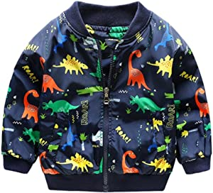 Zerototens Spring Summer Coat for Girls Boys1-6 Years Old Toddler Kids Cute Cartoon Dinosaur Print Baby Outerwear Coat Children Clothing Baseball Jacket Outfit Clothes