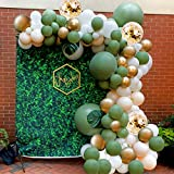Futureferry Olive Green Balloon Garland Arch Kit-132PCS Ivory White Gold Confetti Balloons Artificial Palm Leaves Retro Green Balloon and Gold Metallic Balloons for Baby Shower Birthday Wedding Anniversary Party Backdrop DIY Decoration