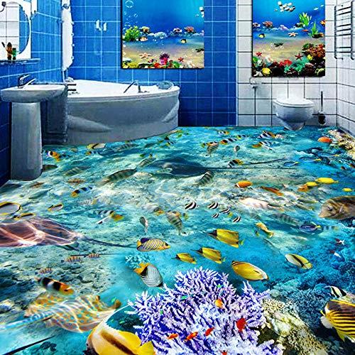Benutzerdefinierte Bodenbelag Wandbild Tapete Unterwasserwelt Fisch Korallen Toiletten Badezimmer Schlafzimmer 3D Boden Wandbilder Pvc Wasserdicht Selbstklebend-200 * 140 Cm