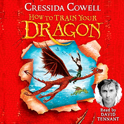 How to Train Your Dragon cover art, a dragon and its rider rip through a red background.